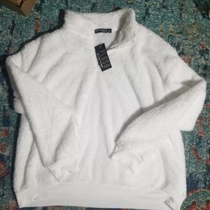 NWT: Fifth Sun White Plush Pullover top...so cozy!